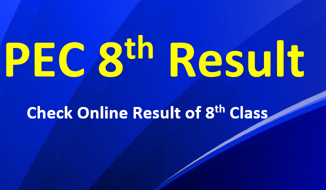 Check online PEC 8th Class Exams Result 2020